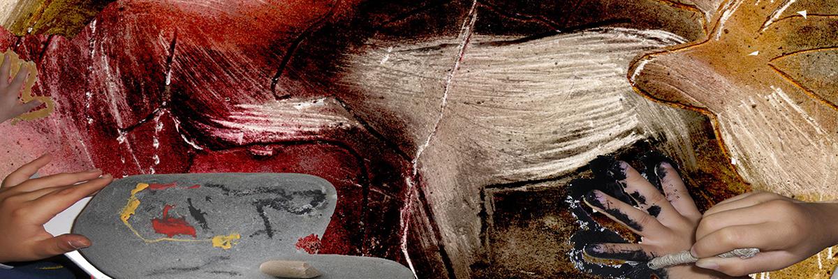 Pinturas infantis inspiradas na arte rupestre pré-histórica.